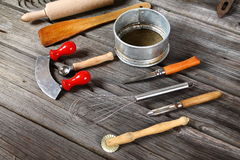 Kitchen tools - cooking supplies. Baking, cooking and cutting - kitchen tools Royalty Free Stock Photo
