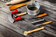 Kitchen tools - cooking supplies. Cooking supplies and food background Stock Photo