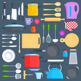 Kitchen tools, cookware and kitchenware flat icons set Royalty Free Stock Photography