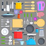 Kitchen tools, cookware and kitchenware flat icons. On transparent background. Vector illustration Stock Photo