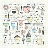 Kitchen tools doodle set. Hand drawn vector Illustration Royalty Free Stock Photography