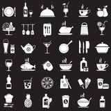 Kitchen tools, food and drinks icons set Royalty Free Stock Images