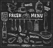 Kitchen tools, food ingredients with captions handmade illustration Stock Images