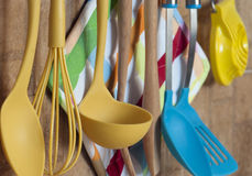 Kitchen tools hanging on the wall Royalty Free Stock Images