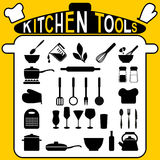 Kitchen tools - icons set. Kitchen tools - icons and silhouettes set vector illustration