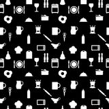 Kitchen tools icons Silhouette seamless pattern Royalty Free Stock Photos