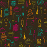 Kitchen tools. Kitchen seamless background Stock Photography
