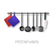 Kitchen. Tools with ware on a brick background. Shelf on a brick wall with utensils, board and pan. Vector Royalty Free Stock Image