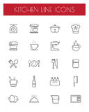 Kitchen tools line icon set Royalty Free Stock Image