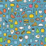 Kitchen tools and meal silhouette icons. Seamless pattern vector illustration