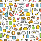 Kitchen tools and meal silhouette icons Royalty Free Stock Image