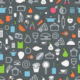 Kitchen tools and meal silhouette icons Stock Photos