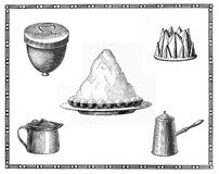 Kitchen tools and recipes of the past: meringues tart, cake pan Royalty Free Stock Photography