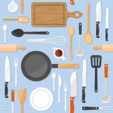 Kitchen tools seamless pattern Stock Photos