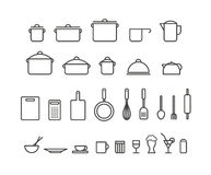 Kitchen tools silhouette icons collection Stock Images