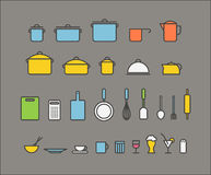 Kitchen tools silhouette icons collection. Design elements Royalty Free Stock Photo