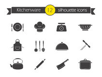 Kitchen tools silhouette icons set Royalty Free Stock Images