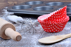 Kitchen tools on table. Kitchen tools on wooden table Stock Images