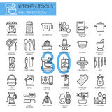 Kitchen Tools , thin line icons set stock illustration