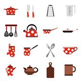 Kitchen tools and utensils icons, flat style. Flat kitchen tools icons set. Universal kitchen tools icons to use for web and mobile UI, set of basic kitchen vector illustration