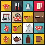 Kitchen tools and utensils icons, flat style Royalty Free Stock Photos