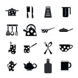 Kitchen tools and utensils icons, simple style Stock Photos