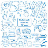 Kitchen tools vector doodles Stock Photos