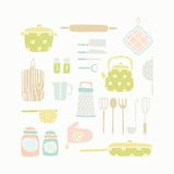 Kitchen tools. Vector EPS 10 hand drawn kitchen tools Royalty Free Stock Photos