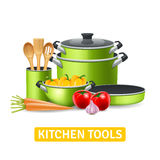 Kitchen Tools With Vegetables Illustration Stock Image