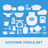 Kitchen Tools White Silhouette Vector icons set Stock Images