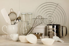 Kitchen tools of white and steel color & x28;accessories& x29; for baking stock photography