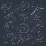 Kitchen tools. Woman's hands holding kitchen items.  Hand drawn vector tools on chalkboard. Cooking equipment outline Royalty Free Stock Photography