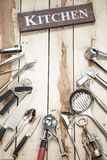 Kitchen Tools On The Wooden Desk Royalty Free Stock Image