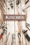 Kitchen Tools On The Wooden Desk Royalty Free Stock Photo