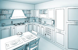 Kitchen toon 01 Stock Images