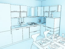 Kitchen toon 02 Royalty Free Stock Images