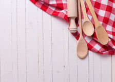 Kitchen towel and spoons Royalty Free Stock Photo