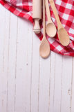 Kitchen towel and spoons Royalty Free Stock Photography