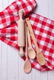 Kitchen towel and spoons Royalty Free Stock Images
