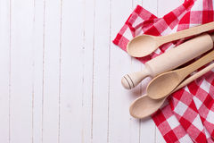 Kitchen towel and spoons Royalty Free Stock Photos