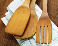 Kitchen towels and blades for meat Royalty Free Stock Photos