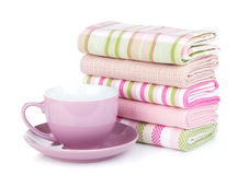 Kitchen towels and coffee cup Royalty Free Stock Photos