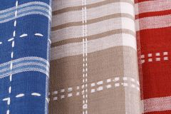Kitchen towels. Colorful kitchen towels closeup picture Stock Photo