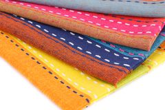 Kitchen towels. Colorful kitchen towels closeup picture Royalty Free Stock Image