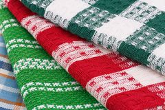 Kitchen towels. Colorful kitchen towels closeup picture Stock Photography