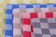 Kitchen towels. Colorful kitchen towels closeup picture Royalty Free Stock Photography
