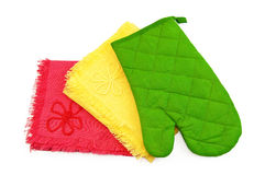 Kitchen towels and potholder Stock Photo