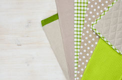 Kitchen towels on wooden background with right side copy space Stock Photography