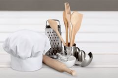 Kitchen Utensil. Chef's Hat Hat Spoon Measuring Cup Food And Drink Wire Whisk Royalty Free Stock Photography