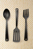 Kitchen utensil collection. Of spoon, spatula and fork Stock Photos
